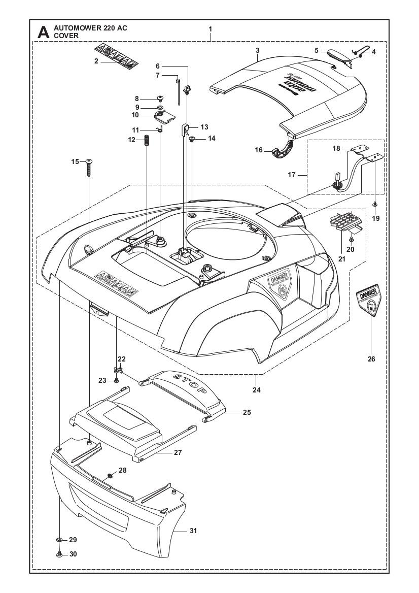 kaross till husqvarna automower 220 ac komplett k per du av gplshop. Black Bedroom Furniture Sets. Home Design Ideas