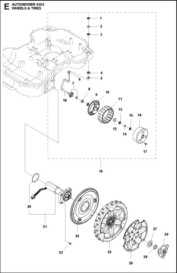 hjulmotor til husqvarna automower 320 330x  420 430x  440