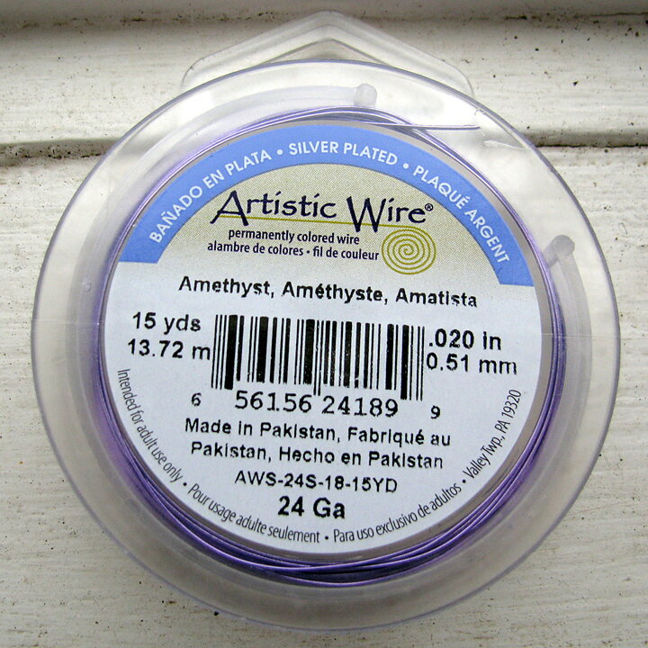 Artistic Wire 24 Ga - Amethyst Silverplated, 1 rulle