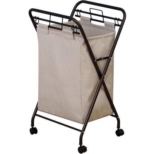 Förvara se Tvättkorg på hjul, ihopfällbar, beige