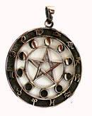Silver Pentagram med Månen / Zodiak