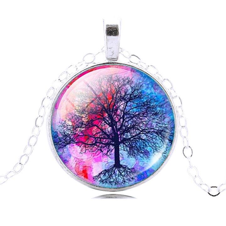 Halsband med Livets Träd - Silverpläterade Damhalsband i Glas ... 26ae23e3b4f70