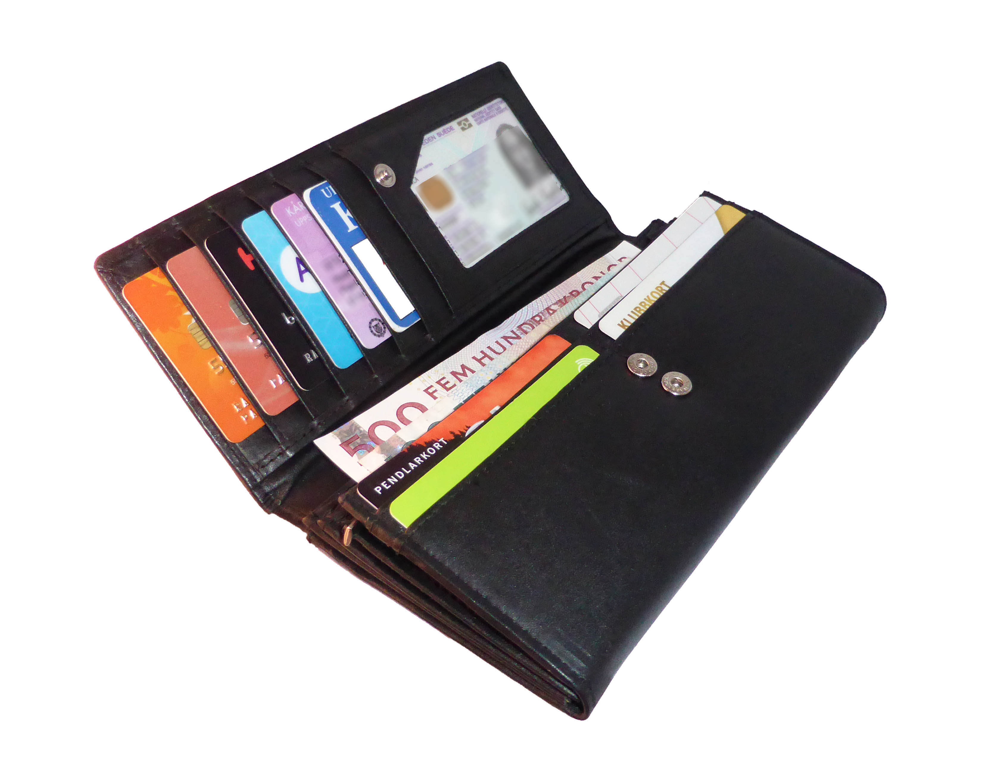 plånbok med många kortfack
