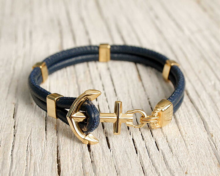 New Haven Anchor Bracelet Leather Gold