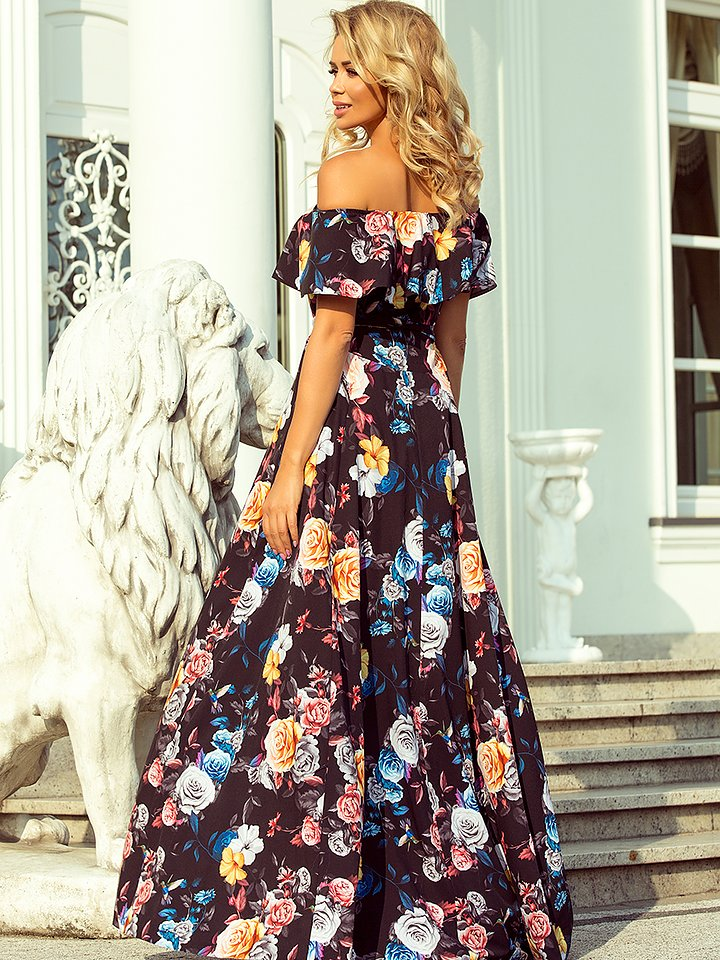 194-3 Long dress with frill - Black - Colorful flowers - baroca.se 1360e5cb1bc8d