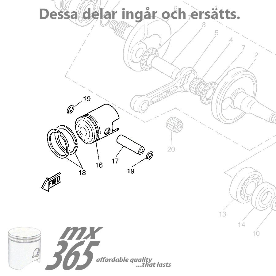 Piston Kit Yamaha Pw80 83 13