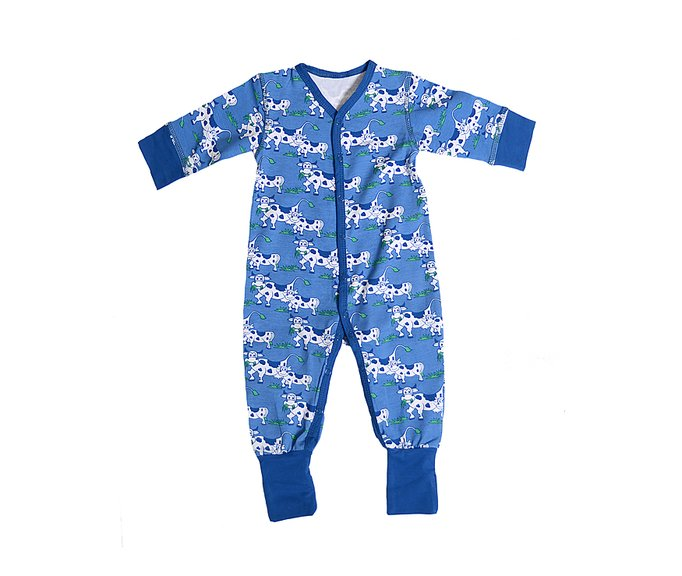 49729ddc351f LS Bodysuit (with snap button)  Blue Cow - SnoozyWebshop