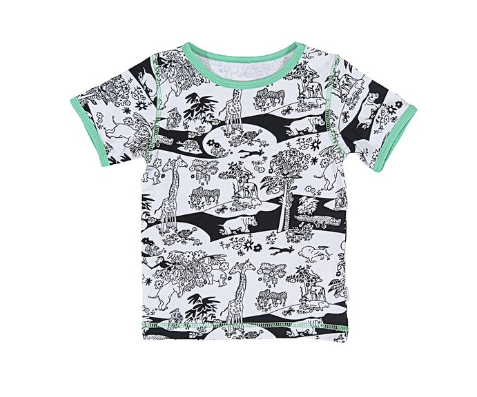 1f3882a42310 SS T-Shirt  Black and White Jungle - SnoozyWebshop