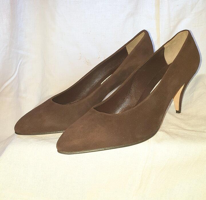 e8f34f6de11 Gilda Ferego mocka pumps strl 38,5 - Spader Madame Vintagebutik