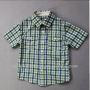 Rutig kortärmad barnskjorta i svalkande bambumaterial - Bambuboden 5a6bb25ee5f69