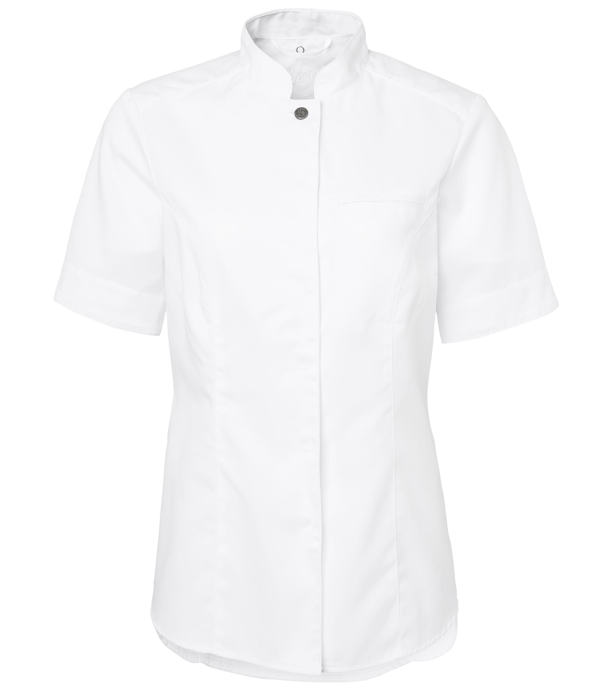 Kockskjorta Dam - Vit med svart knapp - Kockkläder.se 3ce6a9f723a0c