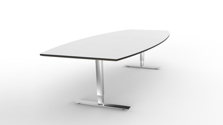Brizley Forum Conference Table White Laminate Chrome TStand - White laminate conference table