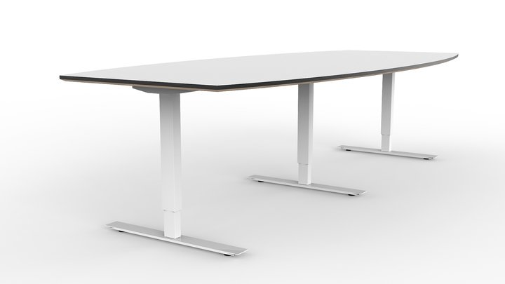 Brizley Forum Conference Table White Laminate White TStand - White laminate conference table