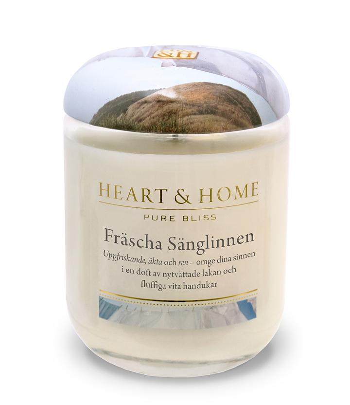 Heart and home doftljus Fräsha sänglinnen