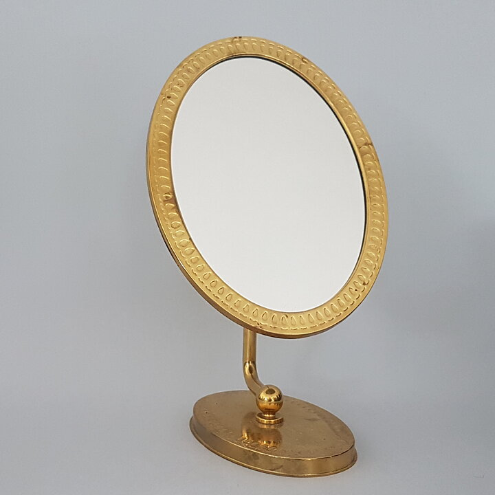 Modernist Table Top Mirror In Brass