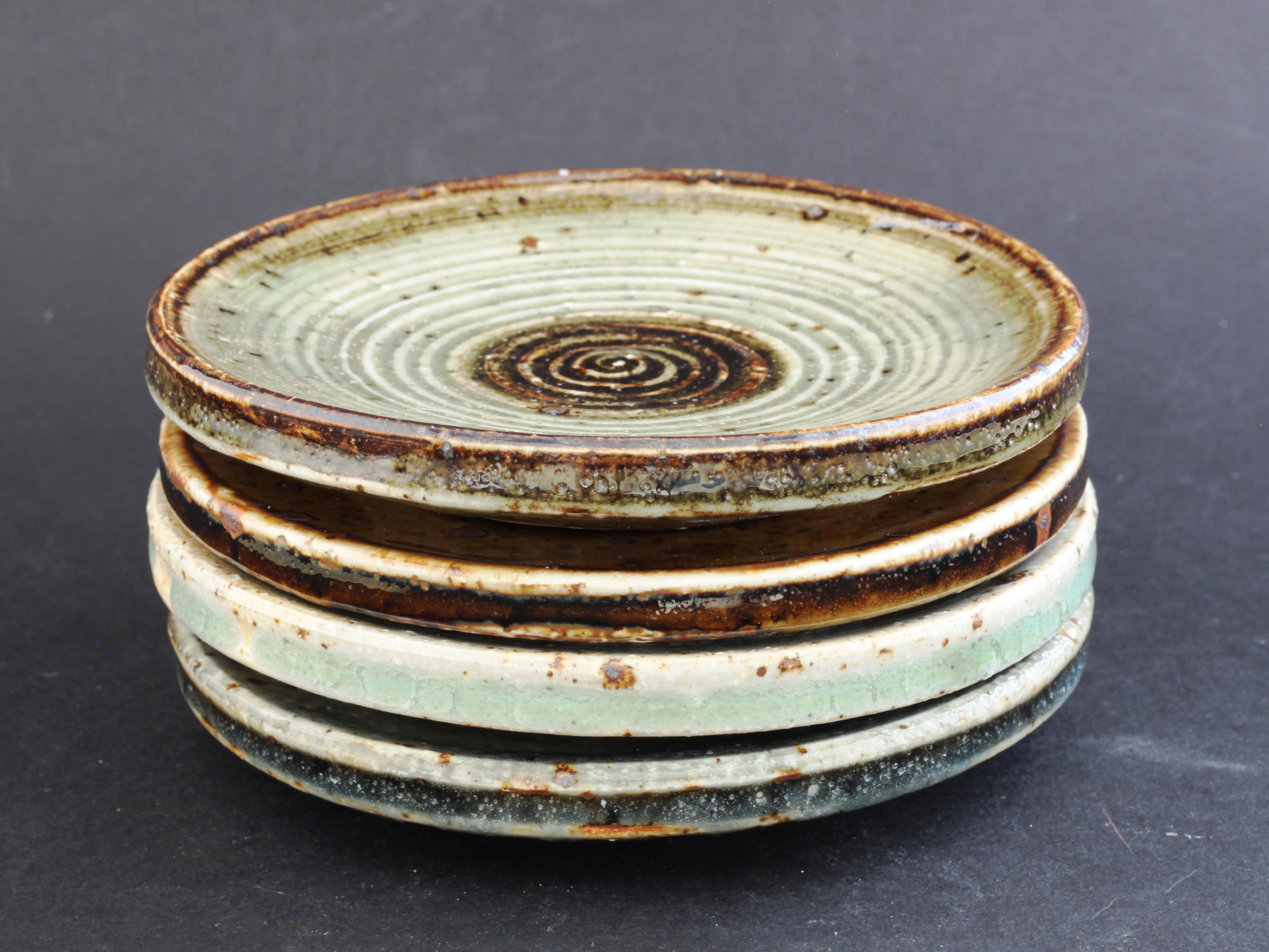 Marianne Westman Rorstrand Unique Set Of Four Stoneware Plates