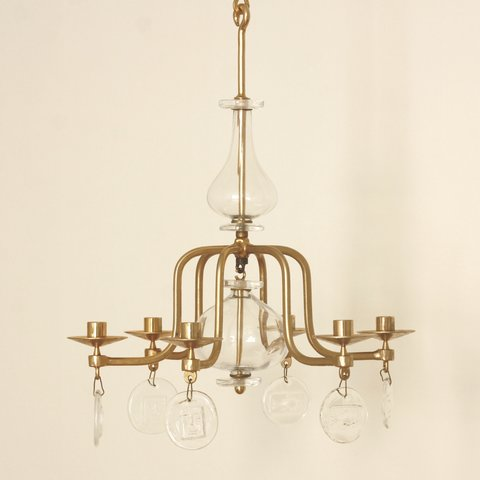 Erik hglund an elegant large and rare candle chandelier in erik hglund an elegant large and rare candle chandelier in gilded iron and clear aloadofball Image collections