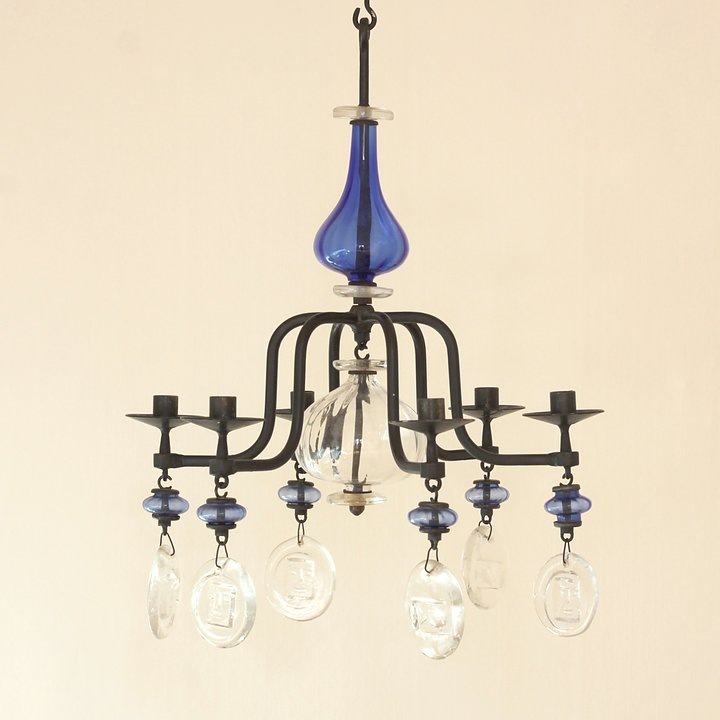 Erik hglund large candle chandelier with blue and clear glass erik hglund large candle chandelier with blue and clear glass aloadofball Images