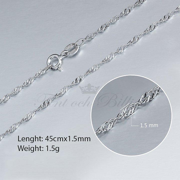 Smycken - Fint och Billigt - SINGAPORELÄNK 1.5MM 925 STERLING SILVER ... 6a51b5212e3cc
