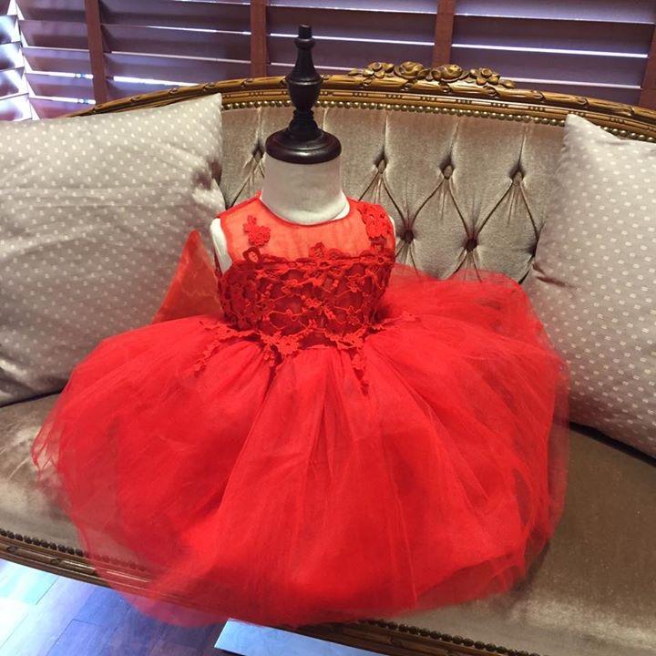 69d22482a0c8 Röd tyllklänning med broderat liv Baby