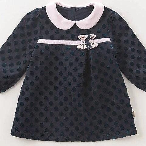 Mörkgrön långärmad klänning med prickar och rosa krage e20fbdef7d6e3