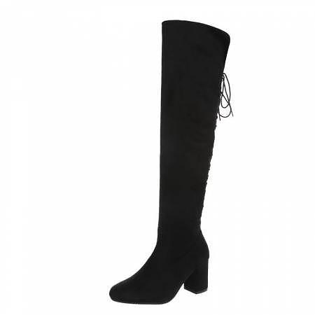 NIKKIE OVERKNEE BOOTS HIGH BLACK - STYLE LEVEL.com cbabfef05e1ca