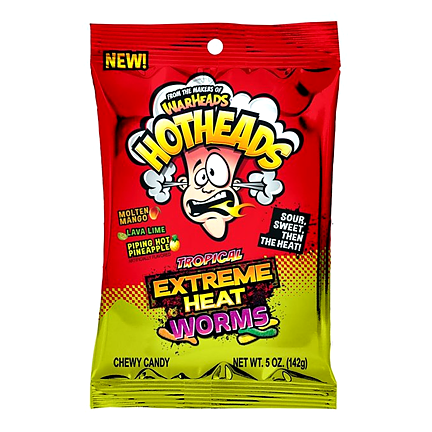 Warheads Hotheads Extreme Tropical Heat Worms (142 g) - OBS! Bäst före  2019-07-03