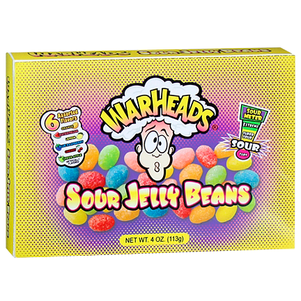 Warheads Sour Jelly Beans Theatre Box (113 g) - OBS! Bäst före 2019-02-08